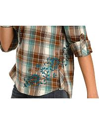 Red Ranch Long Sleeve Plaid with Embroidery Shirt at Sheplers
