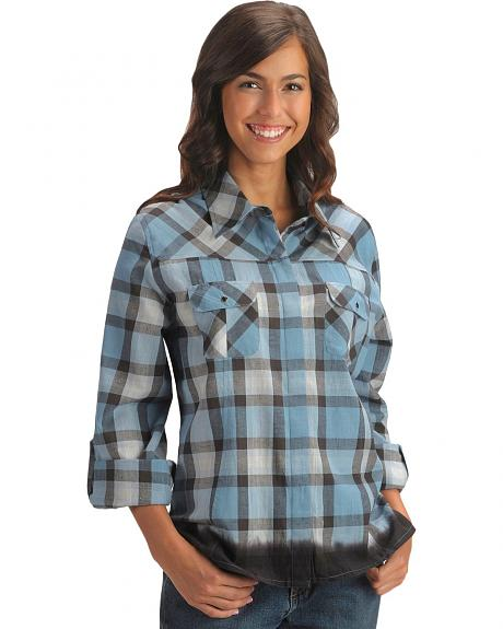 Red Ranch Hidden Placket Plaid Western Shirt