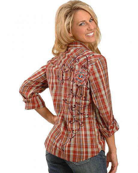Panhandle Slim Plaid V-Neck Lurex Western Shirt