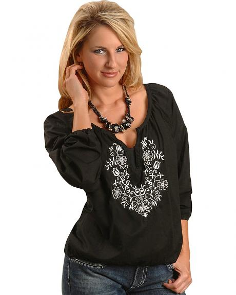 Panhandle Slim Vintage Embroidered Peasant Top