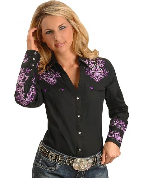 Panhandle Slim Retro Embellished Cuffs & Yok Western Shirt