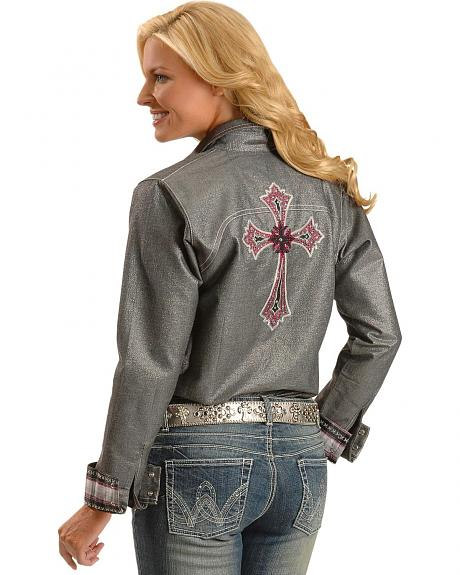 Wrangler Rock 47 Embroidered Cross Metallic Western Shirt