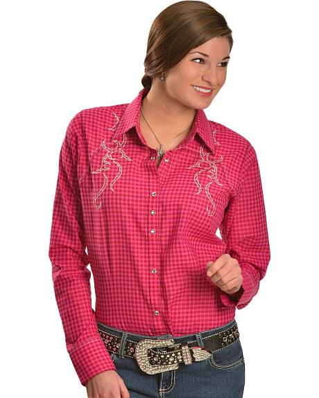 Wrangler Rock 47 Pink & Red Plaid Rhinestone Embroidered Long Sleeve Top