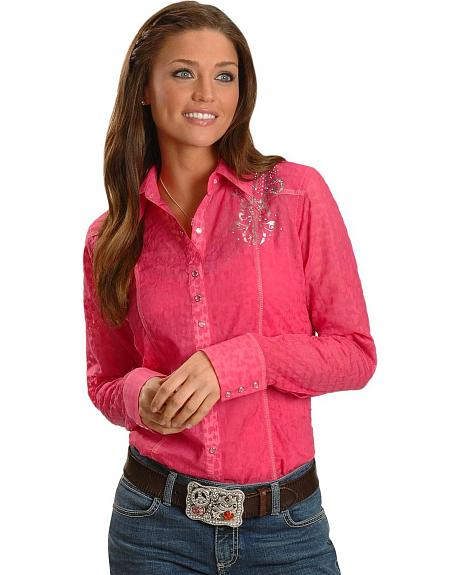 Wrangler Rock 47 Pink Burnout Embroidered Western Shirt