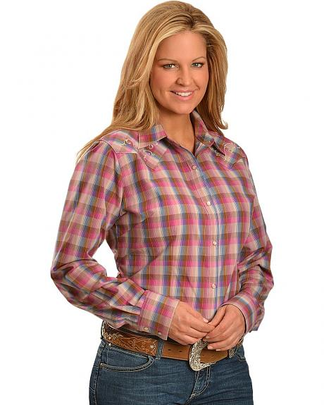 Wrangler Rock 47 Pink Plaid Embroidered Yoke Western Shirt