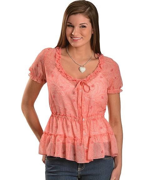 Wrangler Pink Paisley & Floral Ruffled Trim Short Sleeve Top