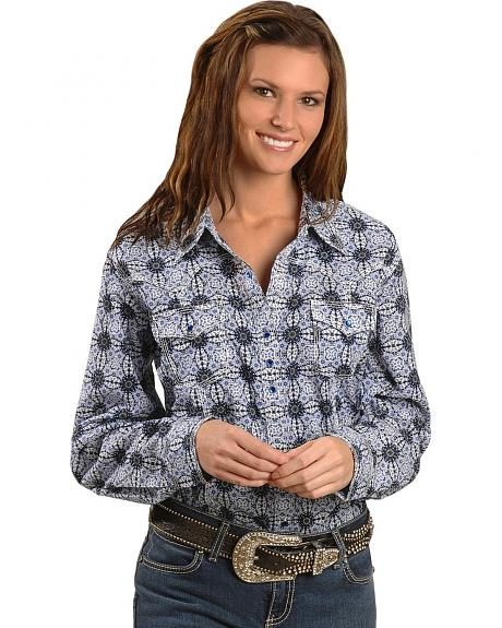 Wrangler Rock 47 Medallion Print Long Sleeve Western Top