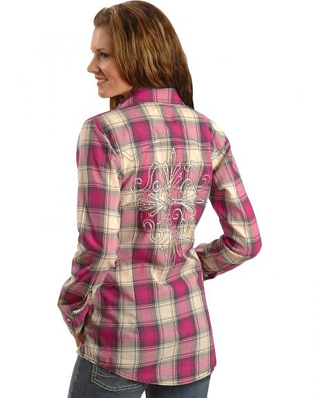 Wrangler Rock 47 Embroidered Rhinestone Plaid Long Sleeve Western Top