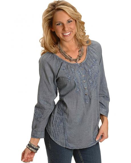 Acid Wash 3/4 Sleeve Peasant Top