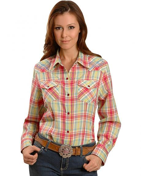 Exclusive Gibson Trading Co. Pink Embroidered Yoke Western Shirt