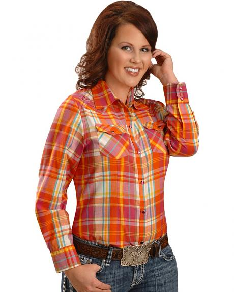 Exclusive Gibson Trading Co. Fuchsia & Orange Plaid Western Shirt