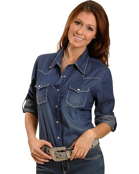 Red Ranch Denim Rhinestone Yoke Western Shirt