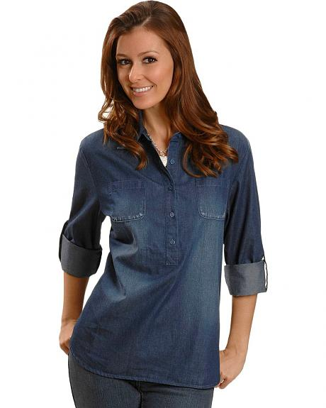 Red Ranch Denim Button Pullover Shirt