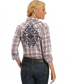 Ariat Dana Plaid Embroidered Long Sleeve Top