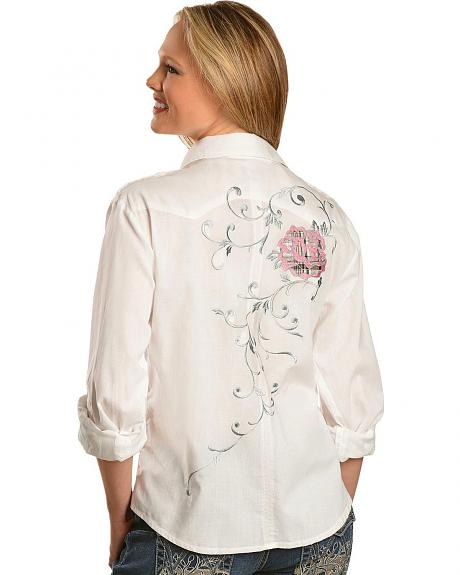 Panhandle Slim Metallic Floral Long Sleeve Western Top