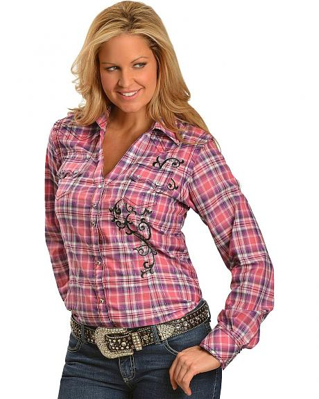 Wrangler Rock 47 Rhinestone Embellished & Embroidered Plaid Long Sleeve Top