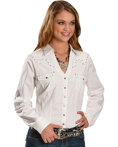 Wrangler Rock 47 Embroidered Yoke Long Sleeve Western Top