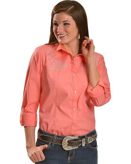 Wrangler Floral Embroidered Coral Top