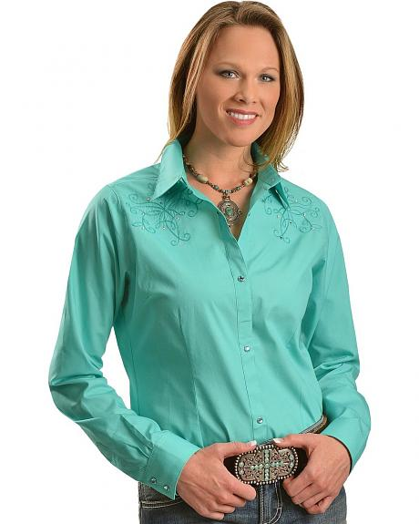 Wrangler Turquoise with Fancy Embroidery & Rhinestones Long Sleeve Top