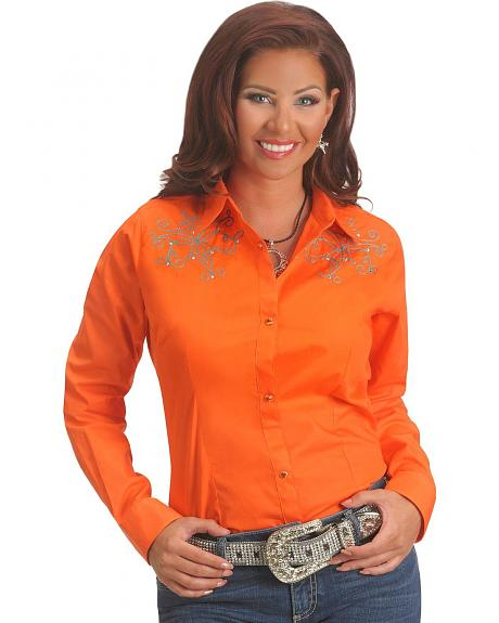 Wrangler Orange with Turquoise Embroidery & Rhinestones Long Sleeve Top