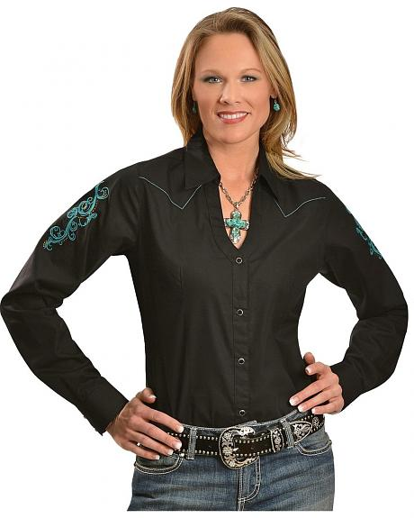 Wrangler Black with Turquoise Stitching & Embroidery Long Sleeve Top