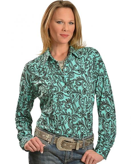 Wrangler Turquoise with Black Paisley & Glitter Spots Long Sleeve Top