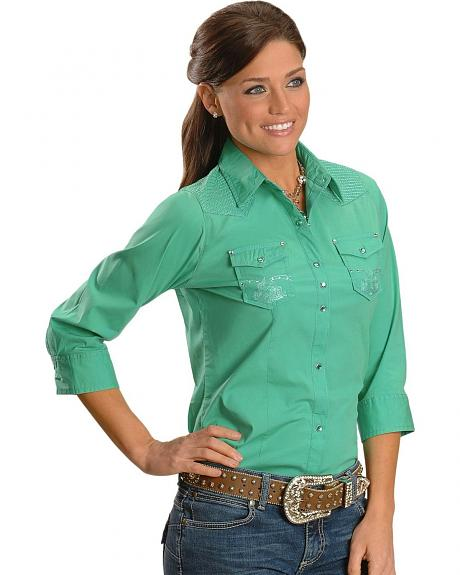 Wrangler Rock 47 Electric Green Embroidered Yoke Western Top