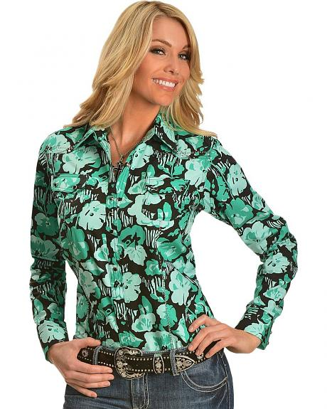 Wrangler Rock 47 Green & Black Floral & Rhinestone Long Sleeve Top
