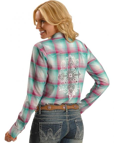 Wrangler Rock 47 Plaid Embroidered Front and Back Long Sleeve Top