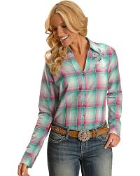 Wrangler Rock 47 Plaid Embroidered Long Sleeve Top at Sheplers