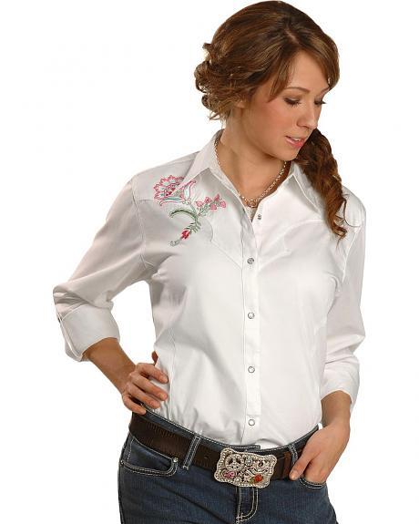 Wrangler Floral Embroidered Yoke Long Sleeve Western Top