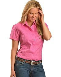Wrangler Pink Eyelet Short Sleeve Top at Sheplers