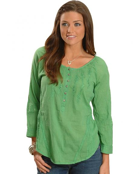 Green Acid Wash 3/4 Length Sleeve Peasant Top