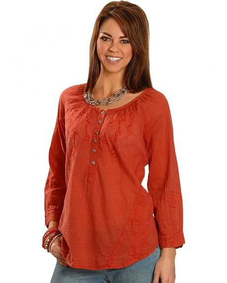 Coral Acid Wash 3/4 Length Sleeve Peasant Top