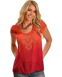 Orange Dip Dyed Embroidered Top at Sheplers