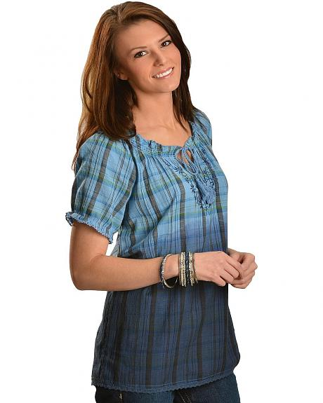Red Ranch Blue Plaid Dip Dye Short Sleeve Peasant Top