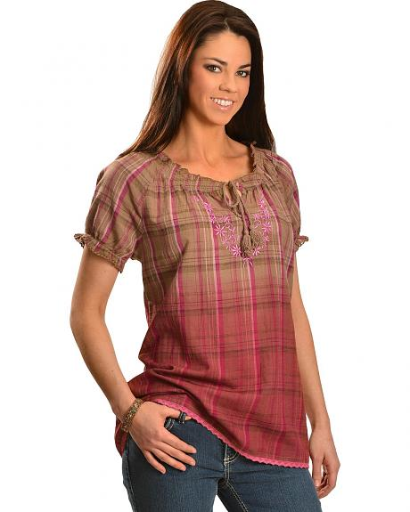 Red Ranch Brown & Pink Plaid Dip Dye Short Sleeve Peasant Top