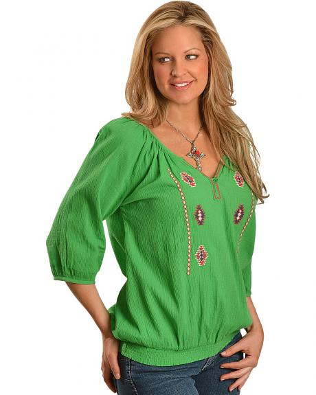 Red Ranch Green Crinkle Aztec Peasant Top