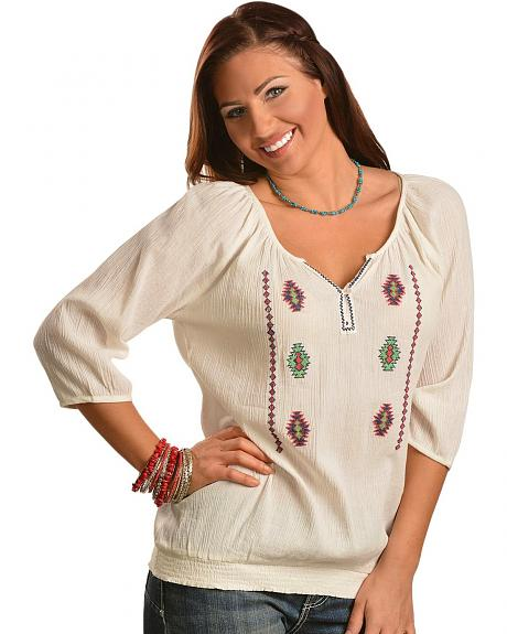 Red Ranch White Crinkle Aztec Peasant Top