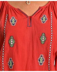 Red Ranch Coral Crinkle Aztec Peasant Top at Sheplers