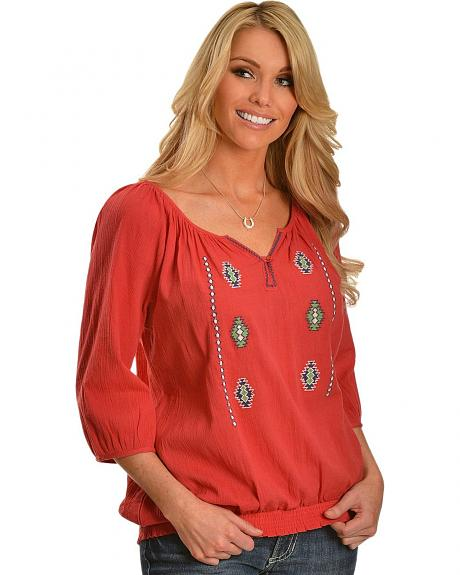 Red Ranch Coral Crinkle Aztec Peasant Top
