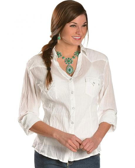 Panhandle Slim Cambric Crinkle Rhinestone Embroidered Top