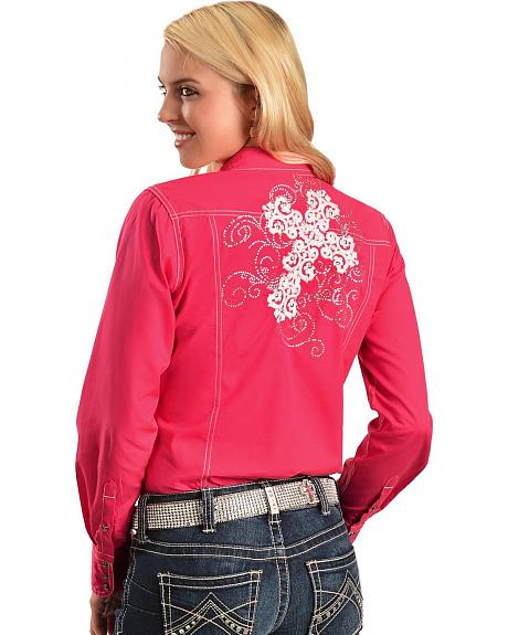 Ariat Rhinestone Studded Cross Embroidered Long Sleeve Top
