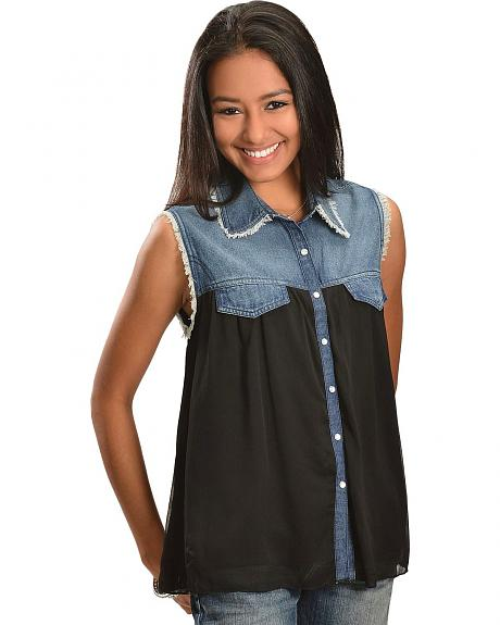 Red Ranch Denim & Black Chiffon Sleeveless Top