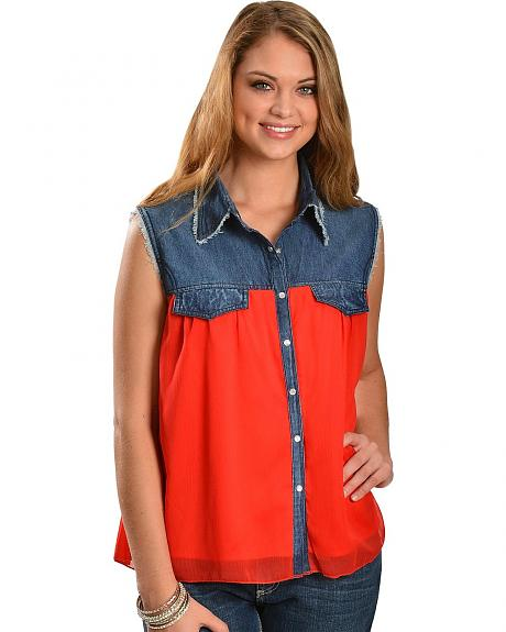Red Ranch Denim & Red Chiffon Sleeveless Top