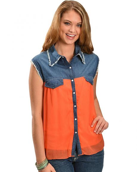 Red Ranch Denim & Peach Chiffon Sleeveless Top