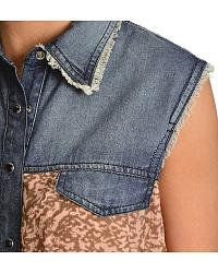 Red Ranch Denim Chiffon Sleeveless Top at Sheplers