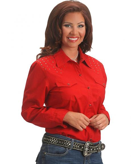 Red Ranch Studded Front & Back Yoke Red Top