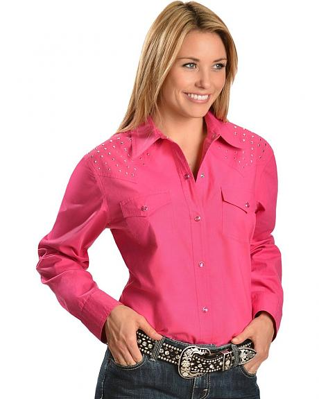 Red Ranch Studded Front & Back Yoke Pink Top