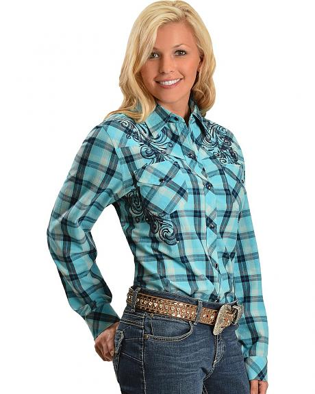 Red Ranch Plaid with Rhinestones & Embroidery Long Sleeve Top